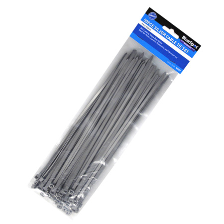 Blue Spot Tools 50pc 250mm Silver Cable Tie Set | Tools & Leisure