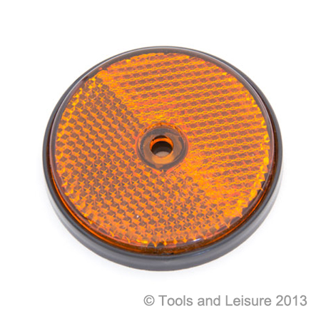 AMBER Screw Fit Round Reflector - Orange Reflector | Tools & Leisure