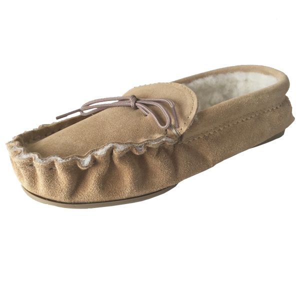 Beige (Tan) Size 9 Fur Lined Moccasin Slippers | Tools & Leisure