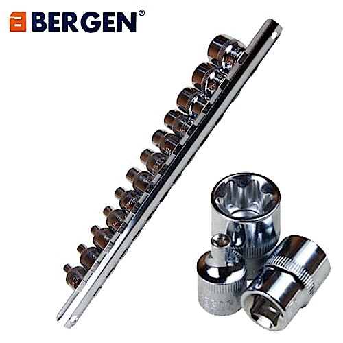 Bergen Tools 12pc 3/8'' DR E Torx Sockets on Rail, External, Female, Stars