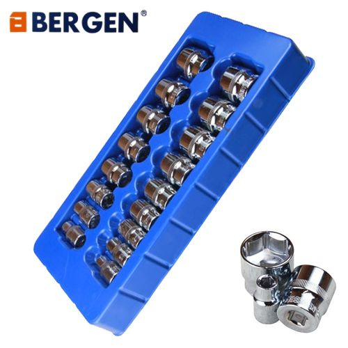 Bergen Tools 17pc 3/8'' DR Shallow Sockets 8-24mm