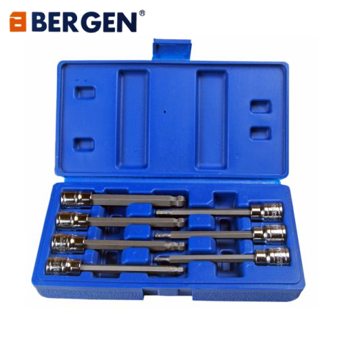 Bergen Tools 7pc 3/8'' DR 110MM (L) Ball End Hex Bit Allen Key Sockets
