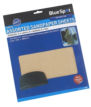 Blue Spot Tools 10pc Assorted Sandpaper