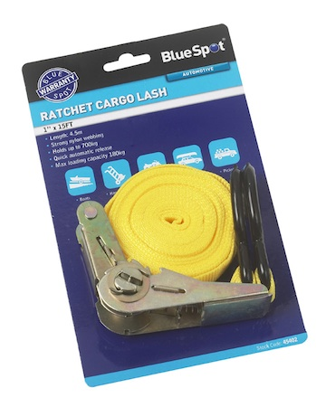 Blue Spot Tools 15ft Ratchet Tie Down Straps Cargo Lash