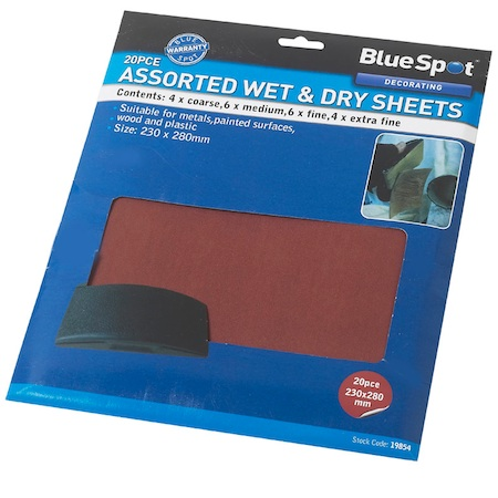 Blue Spot Tools 20pc Wet and Dry Abrasive Paper
