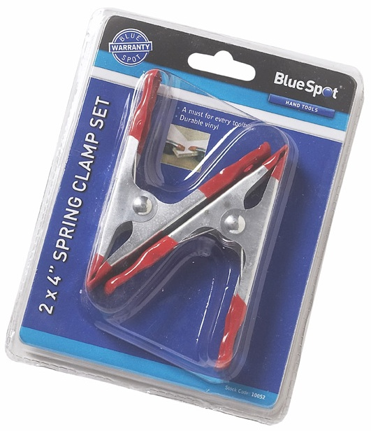 "Blue Spot Tools 2pc 4"" Spring Clamp Set - 10052 