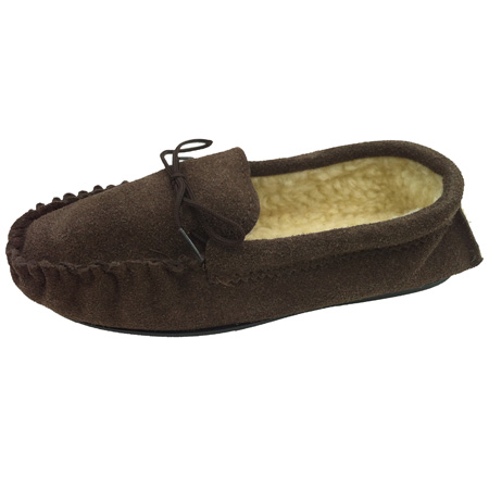 Mens - Brown Size 7 - Fur Lined Moccasin Slippers