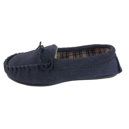 Moccasin Slippers Cotton Lined Size 3 Navy