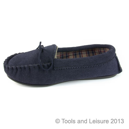Moccasin Slippers-Size 4 Navy