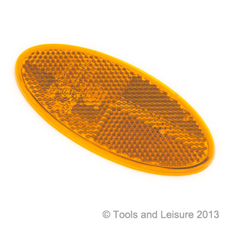 Oval Self Adhesive AMBER Reflector
