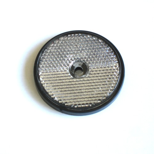 Seconds - Clear / White Screw Fit Round Reflector x 2