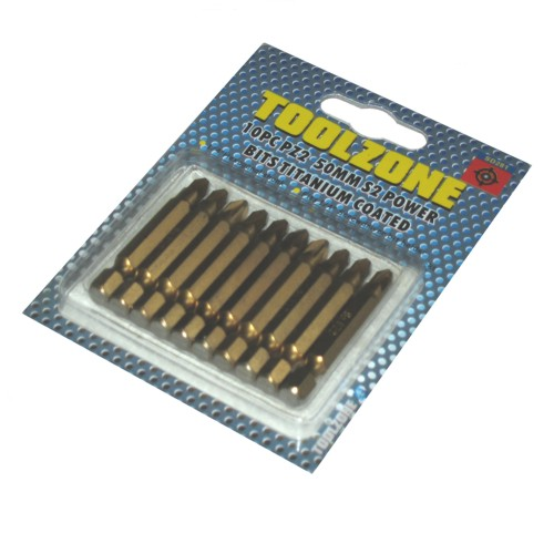 Toolzone 10pc Pozi 2 50mm S2 Titanium Power Bit Set