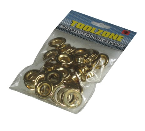 Toolzone 30pc Brass Coated Grommets | Eyelets