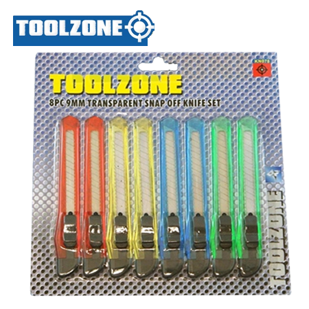 Toolzone Tools 8pc 9mm Small Snap Off Knife Set
